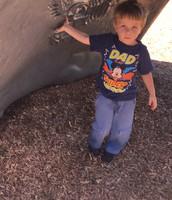 Jacob loves the dinosaur!