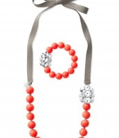 Little Girls Necklace & Bracelet Set - Coral