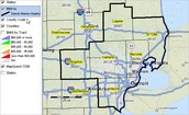 Detroit-Dearborn-Livonia metropolitan area map