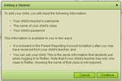 Enter your child's teacher's username (see below), find your student, and enter his/her password