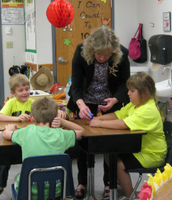 Superintendent Ritz visits with students in Mrs. Taylor's Kindergarten Class