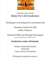 Pizza Fundraiser at Wolfegang's Pizza, Thursday, Oct 22