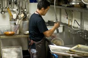 Dishes are usually handled by the dish washer, but bussers must help him if the task becomes too great or at the end of the night