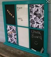 Six-Pane black/white writing board