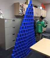 Cup stacking challenge height record as we go to press is 17 layers.