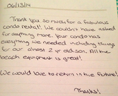 A sweet note from some wonderful guests!