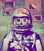 Un astronauta con la cabeza de un buo