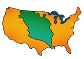 The green is the Louisiana Purchase