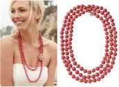 La Coco Rope Necklace - Coral $25