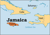 Below Cuba and to the left of Haiti.