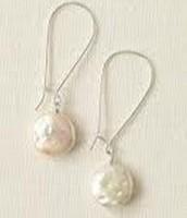 Coin Pearl Drop Earrings $10.00