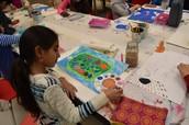 Yasmeen working on her Aboriginal Art Project