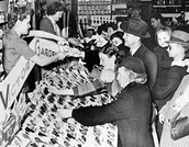 Urban residents buying Victory Garden seeds in New Jersey.