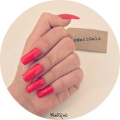 Red Long square nails