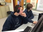Students working on storyboard development