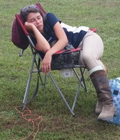 Horse showing is hard work and sometimes it requires naps