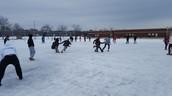 8th graders racing at recess
