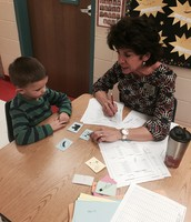 This kindergartener loved showing Mrs. Miller how smart he is getting this year!