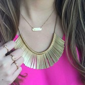 Essential Fringe layered with an Engravable Necklace