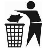 Tirando los papeles a la basura