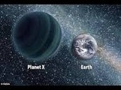 Planet X and earth compared sizes