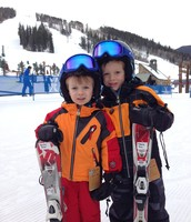 Charlie and Daniel on the slopes