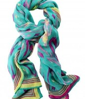 Scarf in turquoise ikat