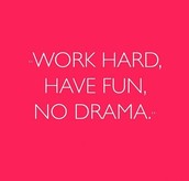"""WORK HARD.  HAVE FUN.   NO DRAMA."""