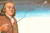 Ben Franklin and his kite.