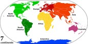The last way that we separate the earth is by continents!