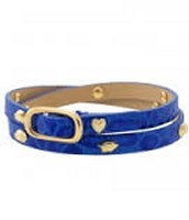 Hudson Leather Wrap Bracelet - Blue