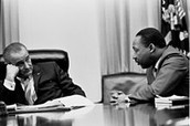Martin Luther King with Lyndon B Johnson