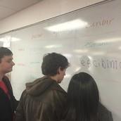 Spanish 1 learners collaborating on language skills