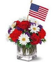 Flag Arrangements with Daisies and Roses
