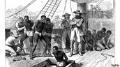 Slaves on a boat to america.