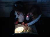 Alex and Ella having fun with flashlights!