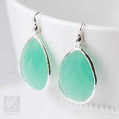Serenity Stone Large drop earrings - Aqua