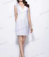 Allure Illusion V Neck Keyhole Back Short White Lace Bridesmaid Dress