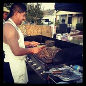 My Uncle making fajitas on the grill!!!