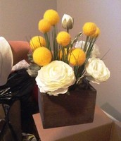 Yellow and ivory floral accent - home decor - SOLD