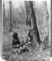 A woman from the Ojibwa tribe tapping sugar.