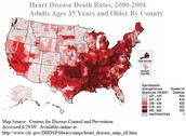 this is a map of the united states the red is people with heart disease in USA