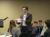 Challenge Students Presenting a Mock Trial of Hamlet