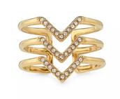 Pave Chevron Ring Gold