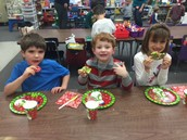 The students enjoyed decorating cookies.