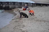 Having a ball at the beach with Dixie and my brother, Kent