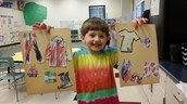 Nicholas is showing off his clothing collages.