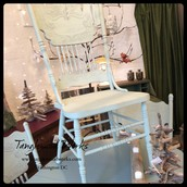 Green-Gray Chalkpaint Pressed Wood Chairs (set of 7) ~ $75 each