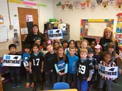 Mrs. Trott and Mrs. Holland's class showing Panther Pride