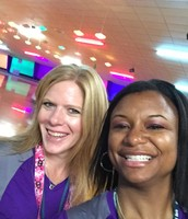 Mrs. Steele and Mrs. Hartzell at the skating rink--chaperoning others of course!